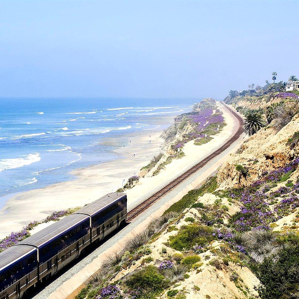Amtrak train traveling along the coast. Photo: Spark Post.