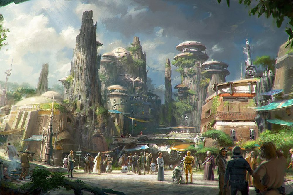 Disney concept design for Star Wars: Galaxy's Edge theme park expansion.