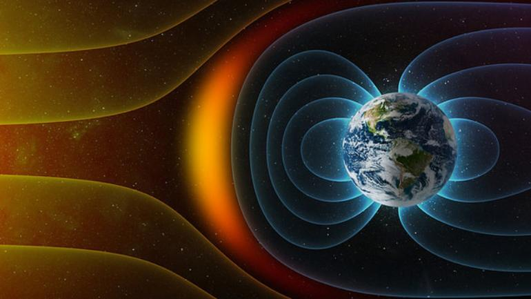 Representation of Earth's magnetic field and how it protects us from solar winds.