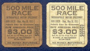 It is uncertain if one of the 1955 general admission tickets shown above is discolored, faded, etc., but it appears there are two colors of general admission tickets for 1955.