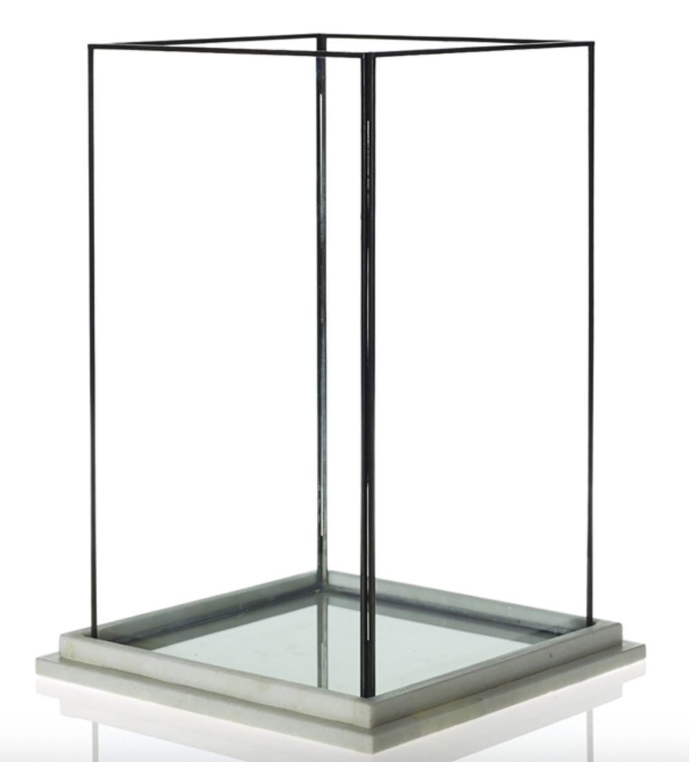 Rectangular Glass Lantern w/ Marble Base- Large & Medium