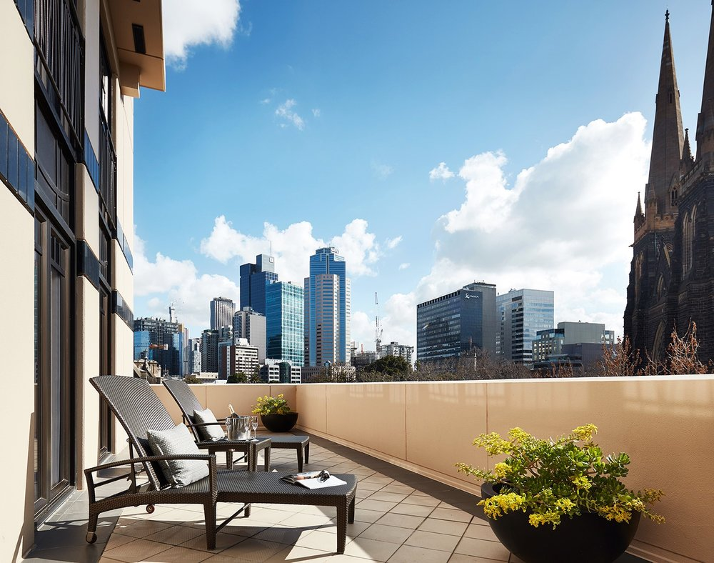 Terrace in Terrace Suite at Park Hyatt Melbourne with city view