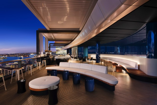 Lounge with Darling Harbour view at Hyatt Regency Sydney