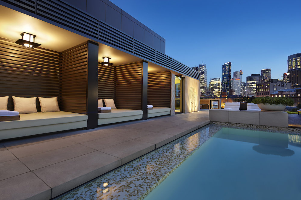 Outdoor Cabanas on rooftop pool at Park Hyatt Sydney Hotel