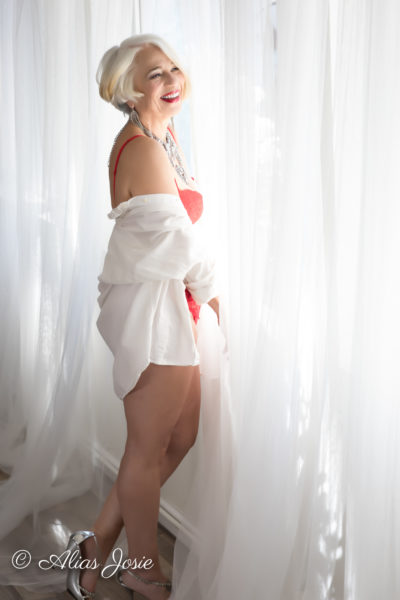 We have have shot some gorgeous silver haired ladies. Recently, the mother of one of the ladies we had in before came in herself. Her photos are so classy and sexy. I am so grateful for her sharing; -