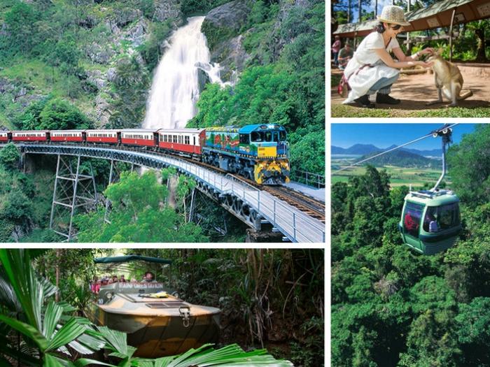 库兰达雨林 - 库兰达为世界自然遗产名单与最受欢迎观光景点之一,在此可乘坐高空缆⻋, 库兰达特色观光火⻋,或独有军用水陆两用⻋来趟穿越热带雨林之旅。价格:澳币$120起