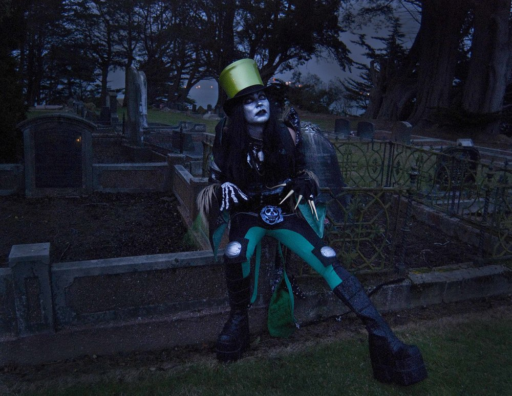 - Thaddius Grime was Dr Glam's wicked alterego, and a very naughty boy. Whenever I wrote songs that were not sparkly and/or happy enough to channel through Dr Glam - often about bats, ghouls, spiders, and malevolent Teddys - I'd bring Thaddius to life to perform them. Although a graveyard smash and a Halloween hit, in truth Thaddius was a plastic ghoul about as evil as a miffed Bay City Roller or a slighty annoyed Osmond.Photography by Tara Douglas