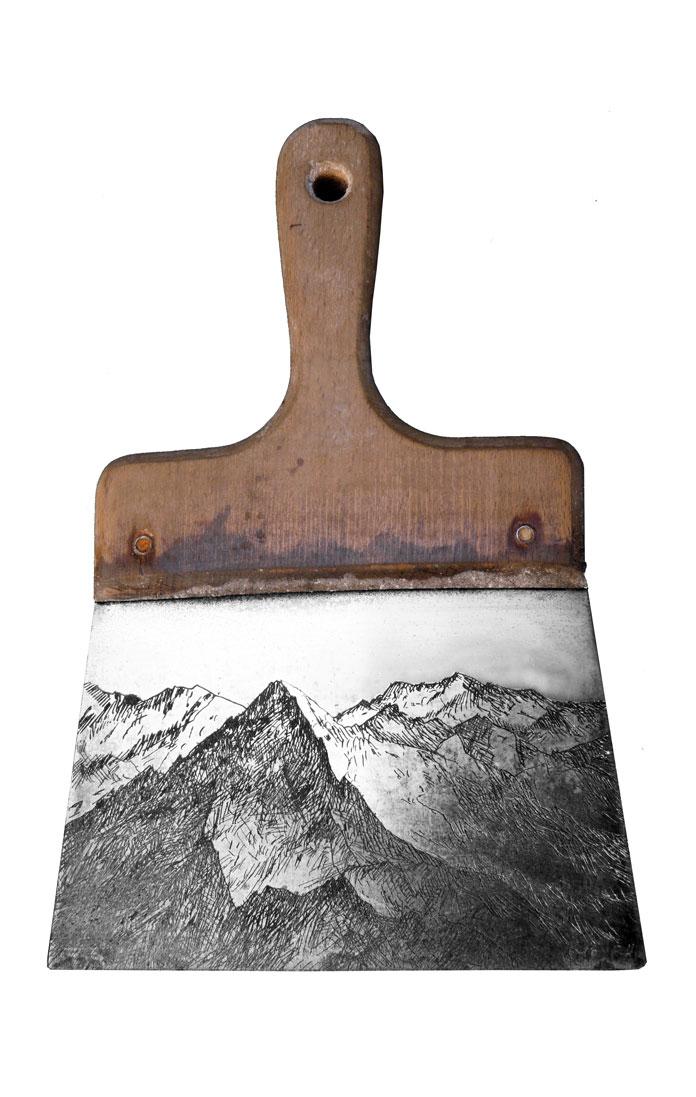 Spatule montagne - gravure sur objet