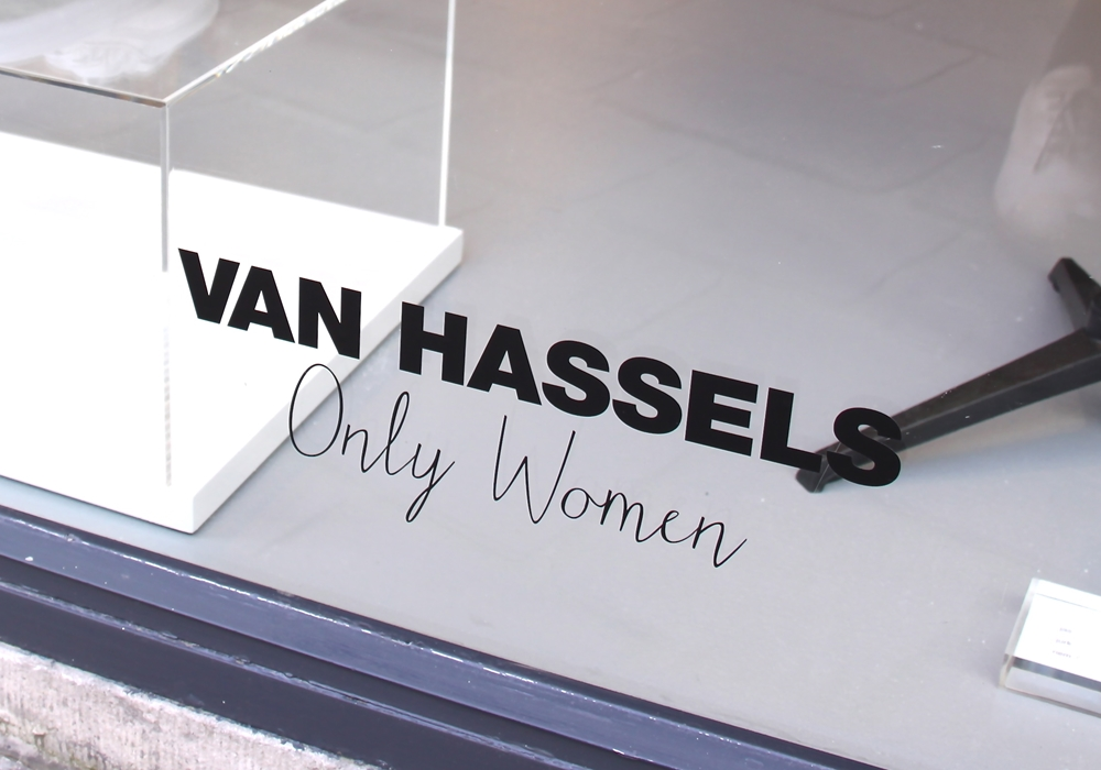 Detail of the Van Hassels storefront.