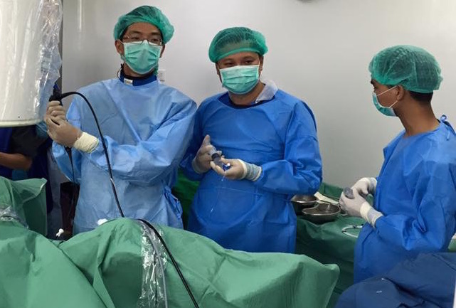 Performing live surgery in Myanmar