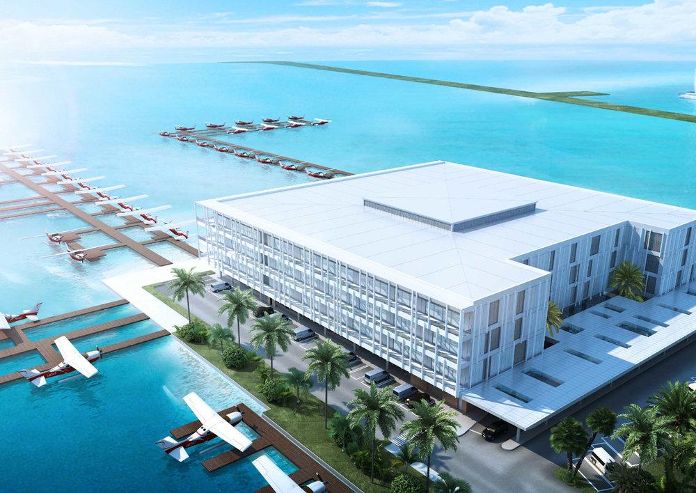 Modern seaplane terminal that can process 500 passengers per hour -