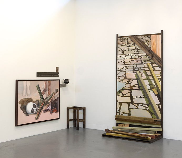 Installation from studio, Opus Incertum to right, 2014