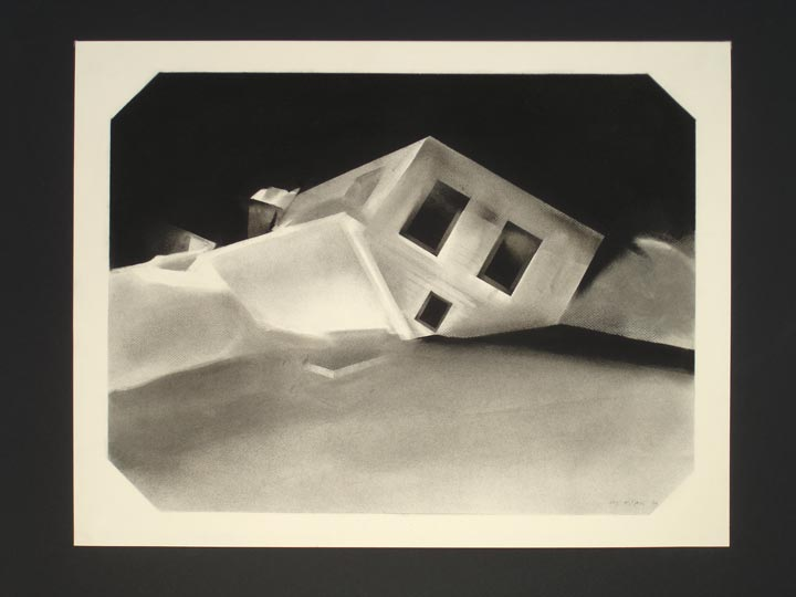 Shelters III, 2005-2006 Charcoal on paper, 50 x 65 cm