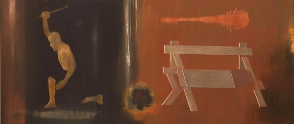 Mellom vest og nord, 1996-97 Oil on canvas, 170 x 400 cm