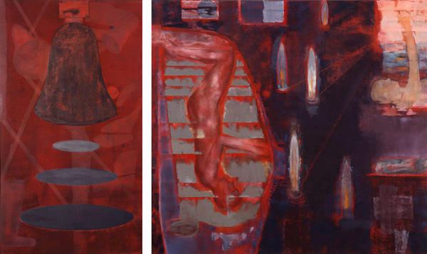Resonance-Elegy , 1992, Oil on canvas, 160 x 90, 160 x 175 cm