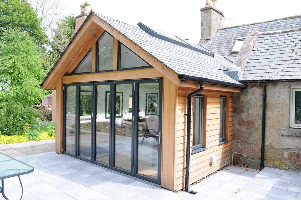 new extension completed showing folding doors closed