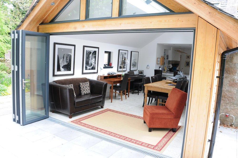 new extension open door view looking in to living area