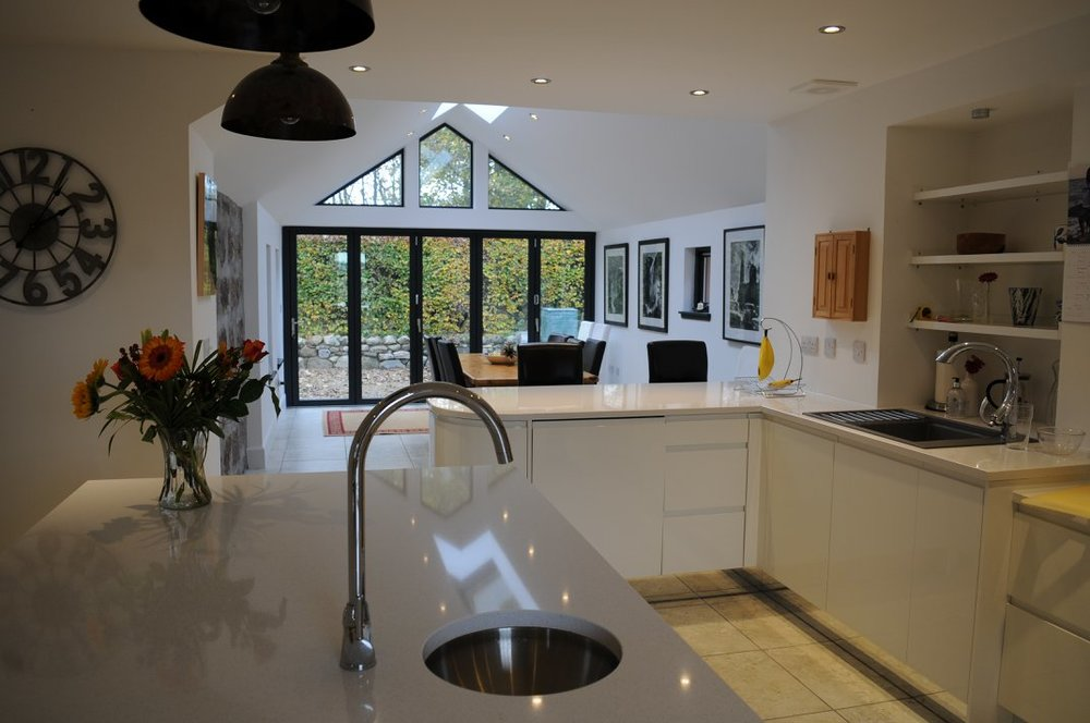 inside vew of contemporary kitchen extension completed