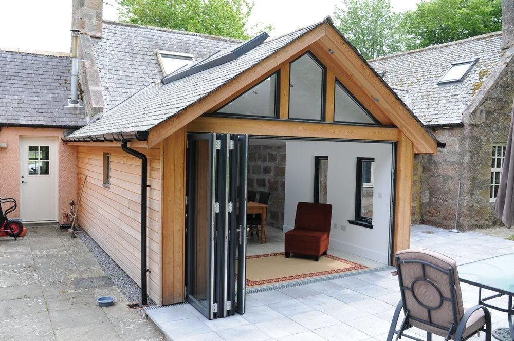 new extension completed showing folding doors open