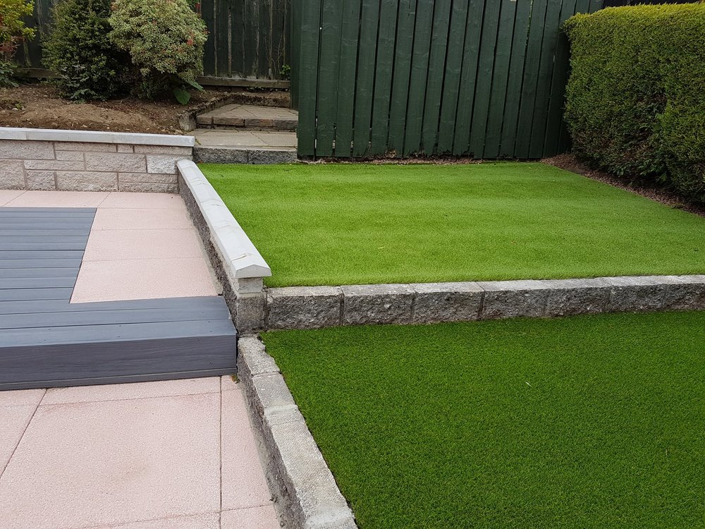astro turf laid in garden