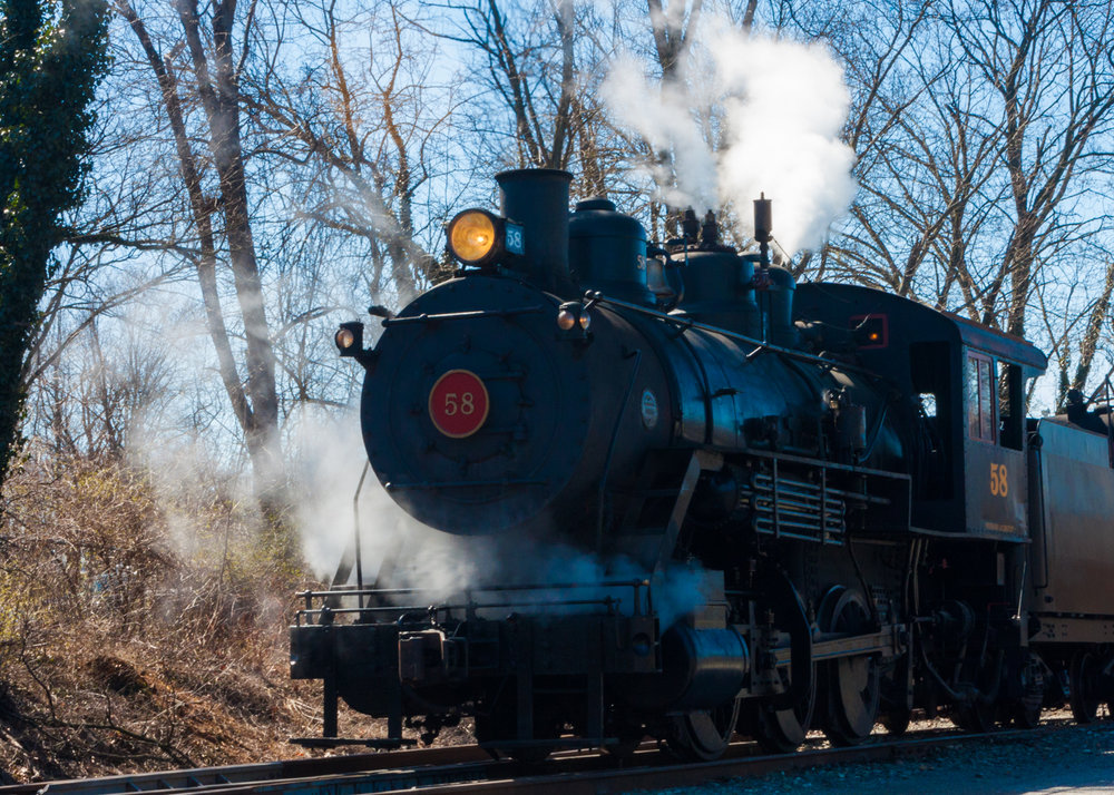 Number 58 steaming and on time.  Wilmington and Western Steam Railroad Train