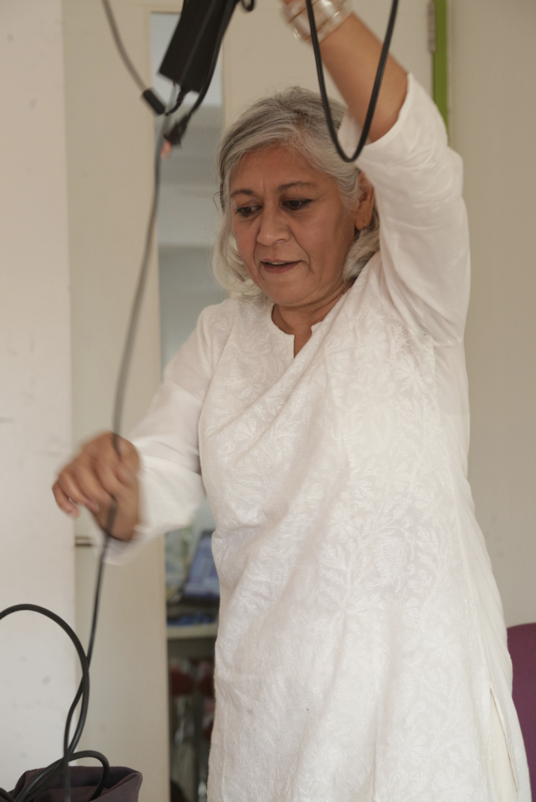 Director Indu Krishnan wrapping cables — a chore once abhorred is now quite enjoyable.