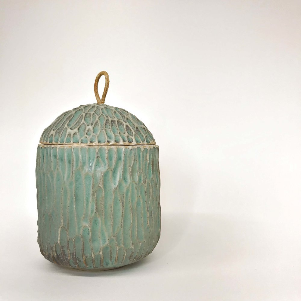 Carved Pot (copper patina)