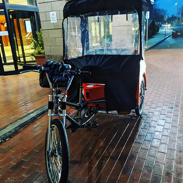 Check out this awesome rain cover we have now! We can 100% give out comfortable and fun rides when you are out on the town on a rainy night!! We tested it out tonight and it was great! Unfortunately  our electrical is acting funny (lights for safety and tunes to jam to)... We are looking forward to being out all night Friday and Saturday!  If you see us out and want to ride, give us a wave, shout or just walk over and talk with us!  #RainyDays #Rain #WeRollin #CantStopWontStop #PeddlPower #Peddl #AprilShowers #MHT #ManchesterNH #ManchVegas #Downtown #DowntownManchester #DowntownMHT