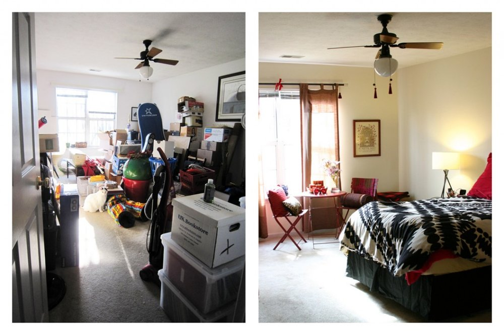 Before and After of a principal bedroom de-clutter session