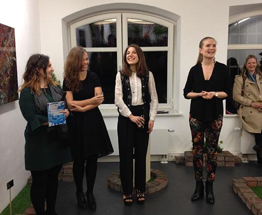 left to right: Rosie Jenkins, Eline Verstegen  and Chiara Villa with Heliumcowboy Director Lavinia Rosen on the opening night