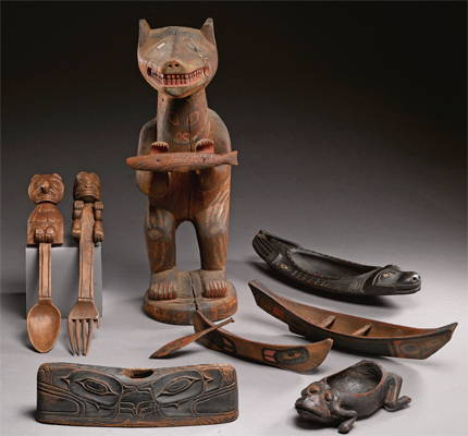Group of Northwest Coast wooden objects