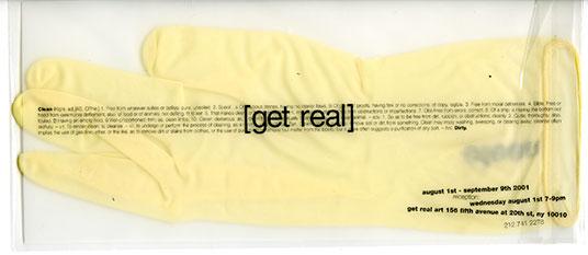 'Clean' invitation, get real art gallery, New York 2001
