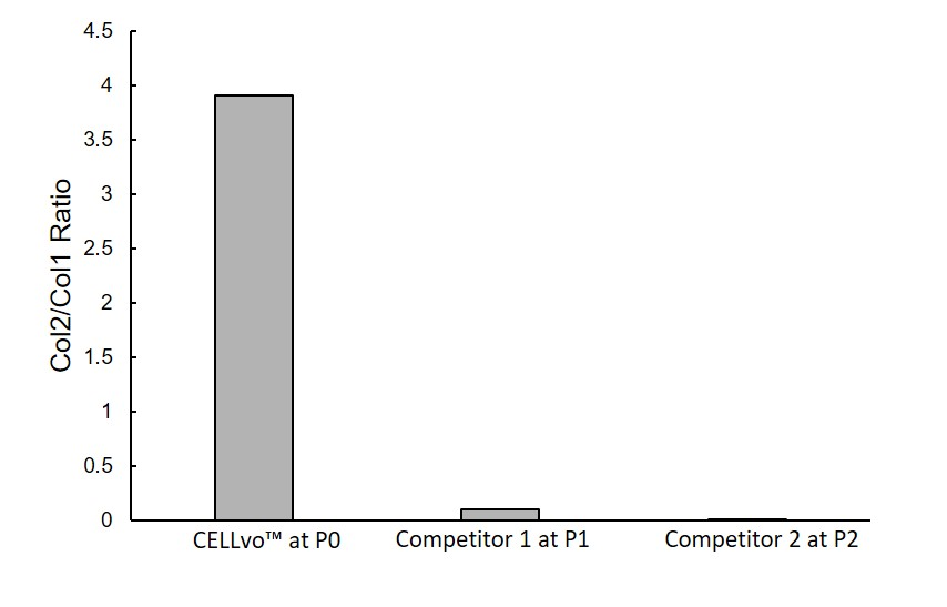 Figure 1. Gene expression measured by RT-PCR immediately after thawing. Gene expression was determined by the delta-delta Ct method. Expression of Col2 and Col1 was normalized to the housekeeping gene GAPDH.