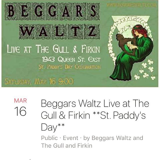 Join us tonight in the Beaches at @gullandfirkin for a free show to ring in #stpatricksday! - #beggarswaltz #beaches #torontobeaches #ashbridgesbay #kewgardens #queeneast #toronto #torontomusic #riverdale #leslieville  #torontomusicscene @beacheslivingtoronto @beachvillagebia