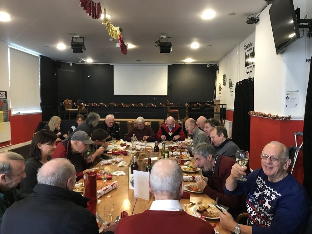 Sporting Memories Christmas lunch 2018, with volunteers