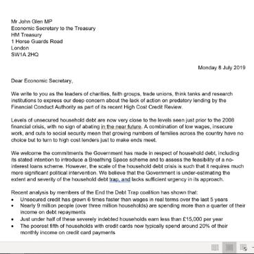 Open letter sent to John Glen MP regarding predatory lending