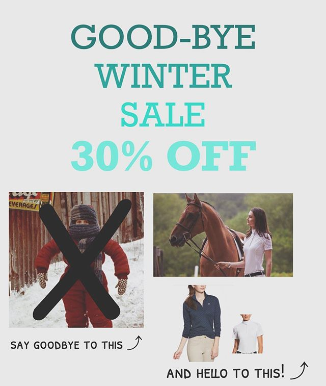 ✨30% off✨ all winter gear - the store is getting filled with bright and beautiful spring sportswear and we want the gloomy winter gear out! Help us make room so you fill your riding wardrobe with fun new pieces!