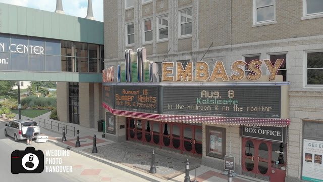 embassy theater sign in fort wayne shot on a drone