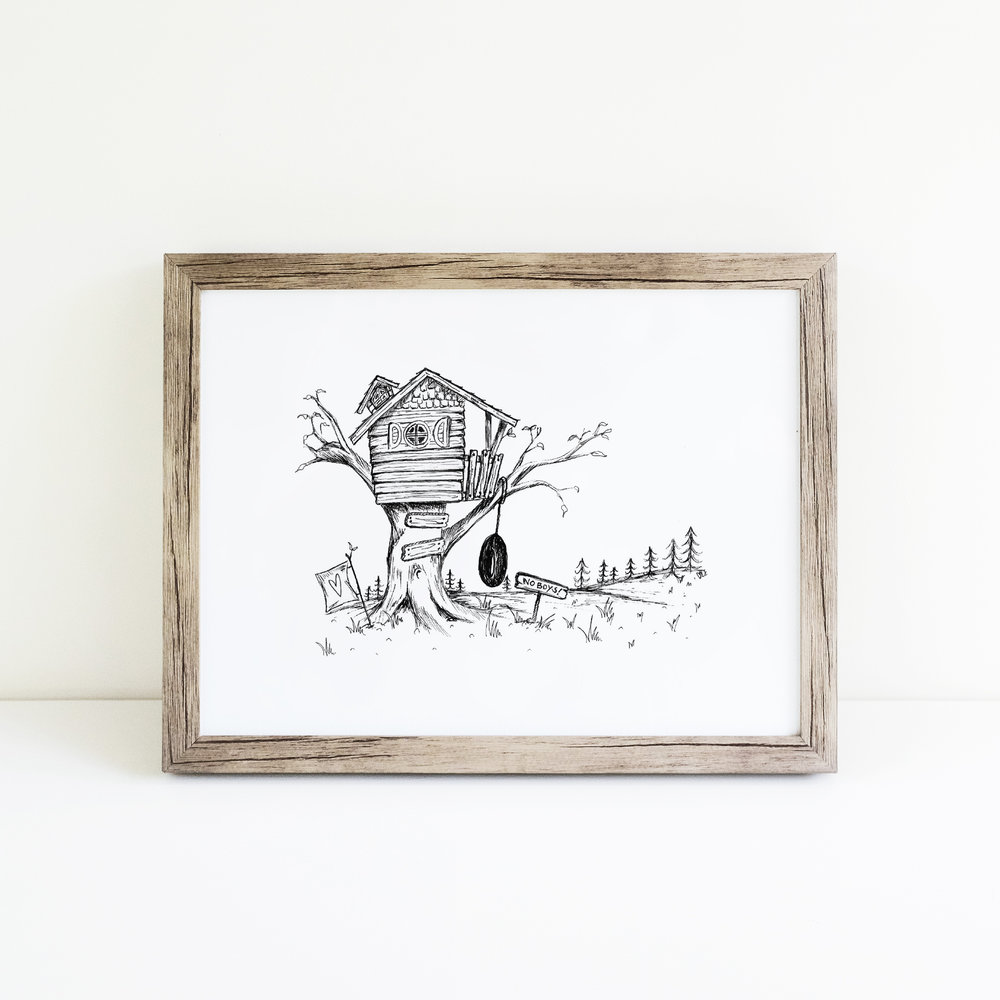Girls Treehouse Illustration by Flower and Wild