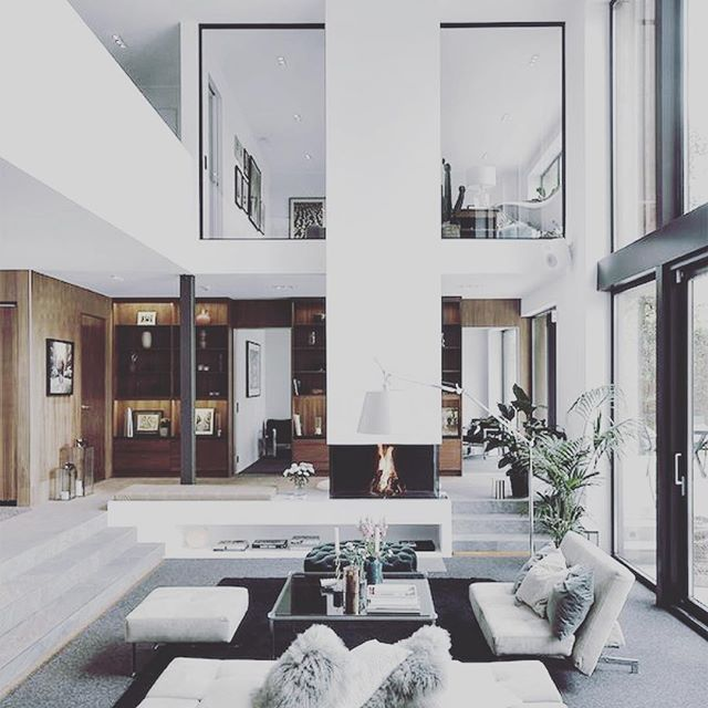 Next house design #inspo check out the fireplace with the integral bench seat/bookshelf . . . #kleendesign #nexthouse #moving #excited #modern #eclectic #sunkenlivingroom #lounge #interiordesign #interior #interiorstyling #fireplace #inspireddaily