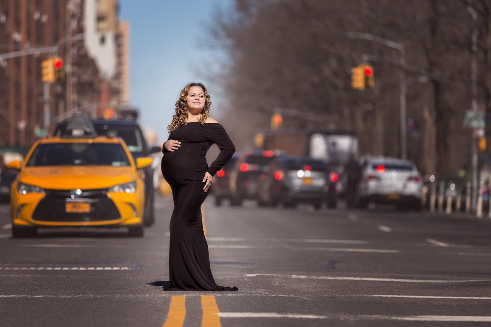 nyc maternity photoshoot little black dress nyc street taxi cab upper west side-3107.jpg
