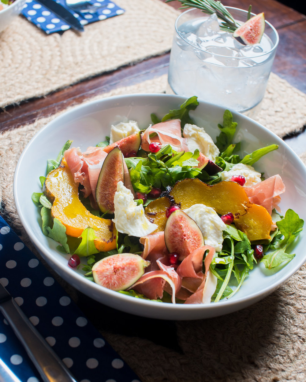 Roasted Squash and Fig Salad with Speck and Buffalo Mozzarella