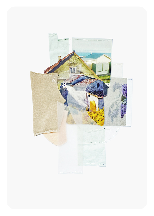 """House with Wisteria, 8.25 x 11.5"""", mixed media sewn on paper, 2018"""