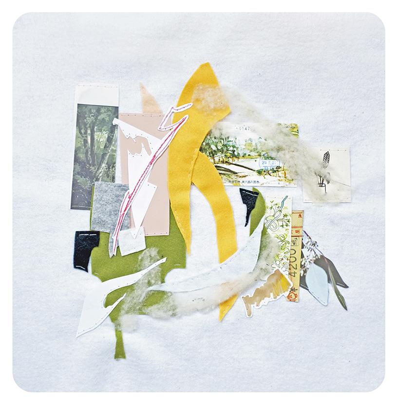 """Park, 14 x 14"""", mixed media sewn on felt, 2018"""