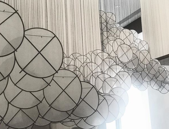 Jacob Hashimoto, Nuvole (detail)  2006-2018 Silk, paper, bamboo, and cotton string. Photo credit @dallasartcritic