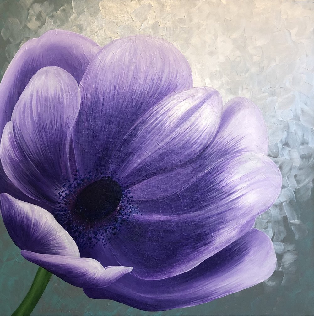 Lean into His Light - Purple Poppy, 2018. Acrylics, 20 x 20 inches.