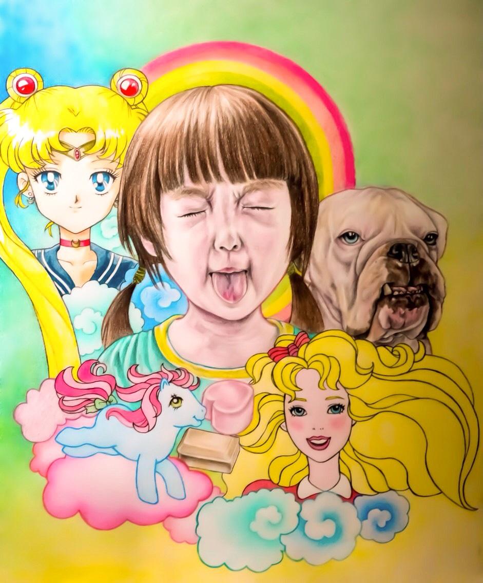 Childhood I, 2018. Mixed media, 50 x 60 cm