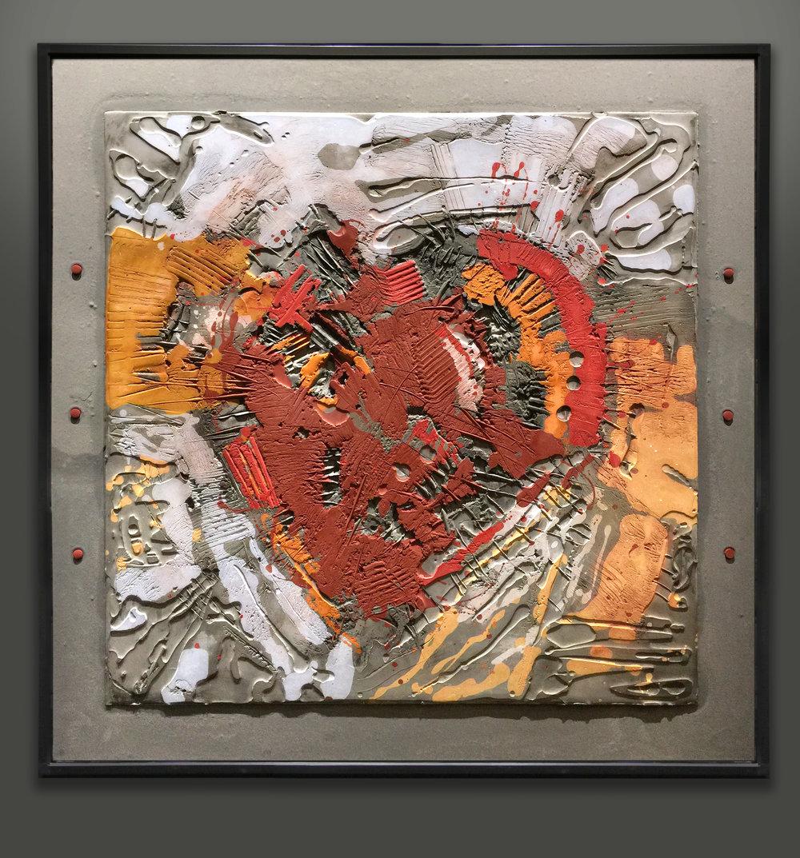Heart to Heart, 2018. Mixed media, 38.5 x 38.5 inches