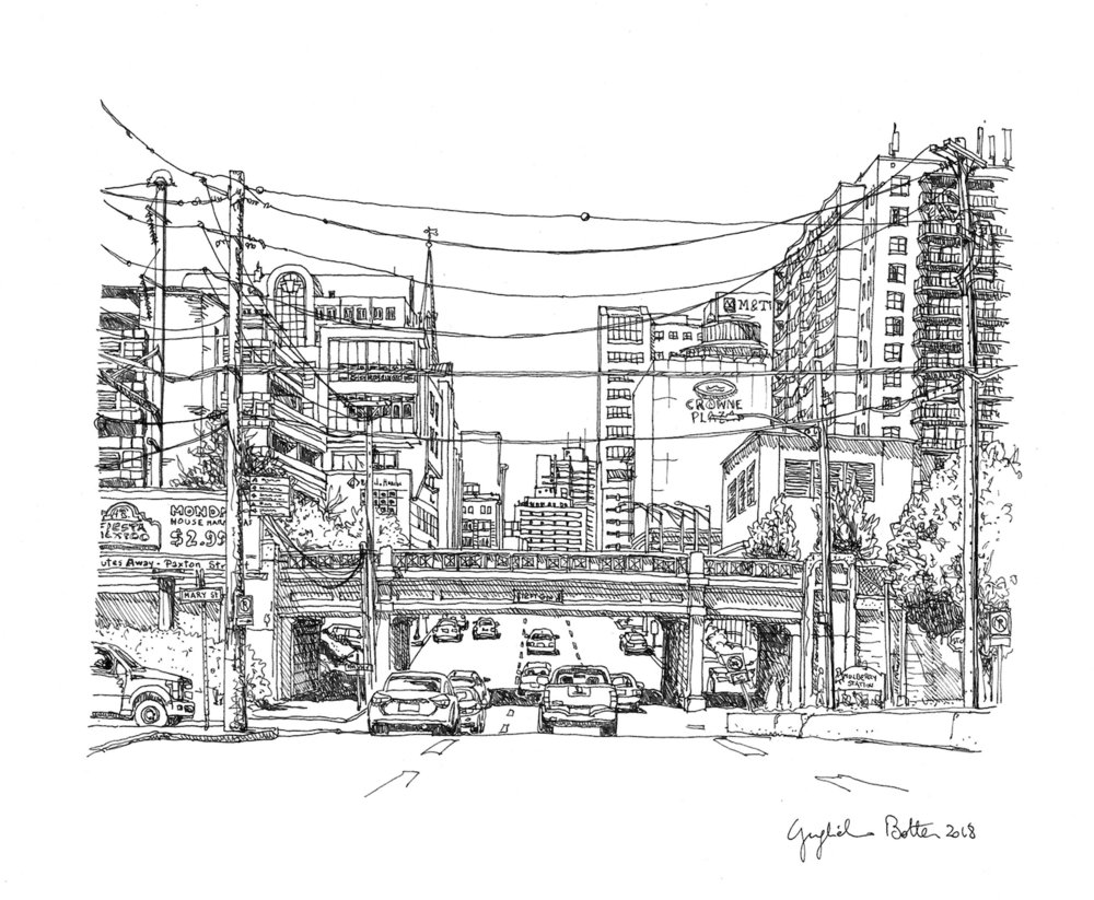 Harrisburg, PA South 2nd Street, 2018, Pen & Ink, 17 x 14 inches