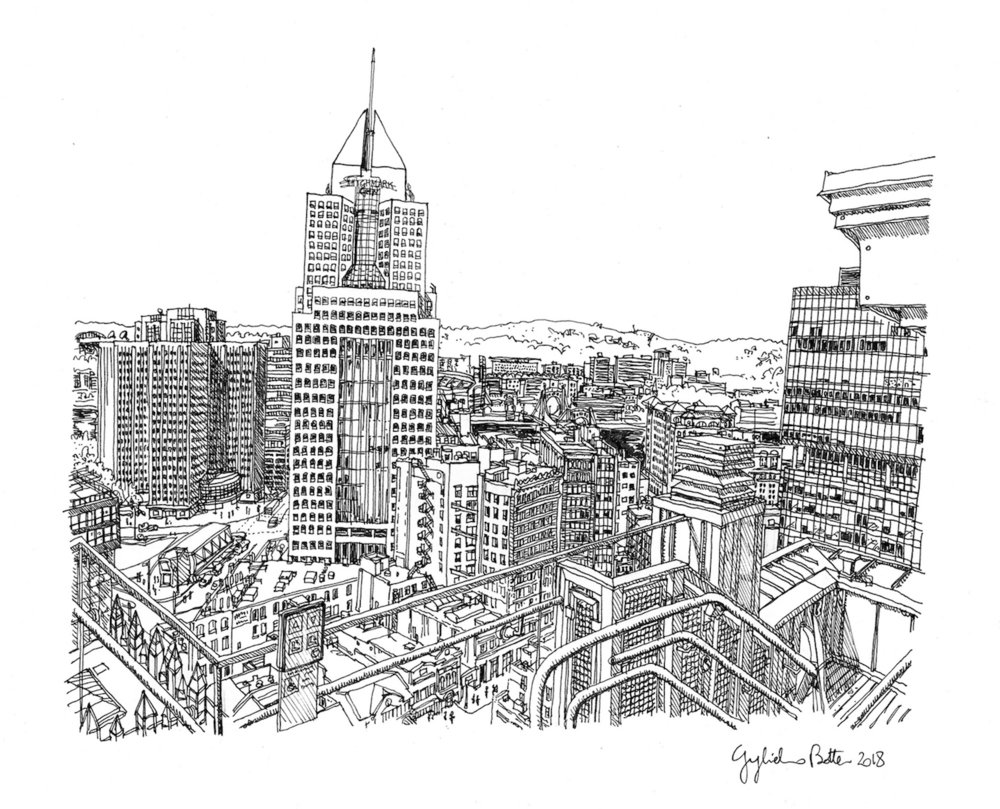 Pittsburgh, PA View From Atop Benedum Trees Bldg, 2018, Pen & Ink, 17 x 14 inches